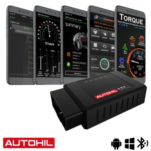 Autohil OBD2 Bluetooth Scan Tool Car OBD Scanner Engine Auto Code Reader ELM327  <br/> For Android System, Read Codes, Clear Codes,  Live Data