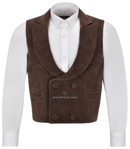 'EDWARDIAN' Mens Suede Leather Waistcoat Brown | DOUBLE BREASTED REAL NAPA 3281