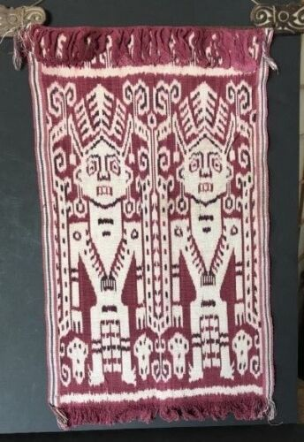 Borneo Hand Made Wall Hanging on Carved Wooden Rail b.) …beautiful accent piece.