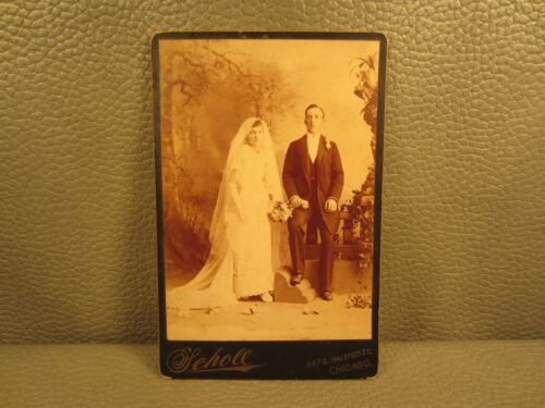 Victorian Antique Cabinet Card Photo of Wedding Man and Woman ....FREE SHIPPING