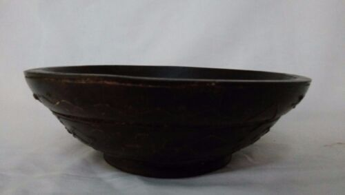 Vintage old Hand Crafted Wooden Fruit Bowl Plate Collectible