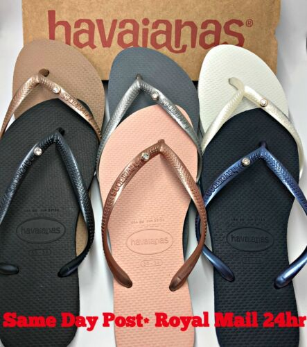Original Havaianas Flip Flops Slim Crystal or Charms Personalised Genuine Women  <br/> NEXT DAY DELIVERY*! BARGAIN! UK Supplier! New with Box