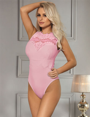 Stunning Pink Bodysuit with Intricate Lace Sexy Teddy Lingerie Top Size 8 to 14