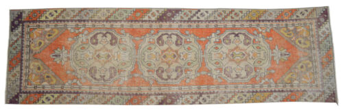 """Faded Hand Knotted Wool Turkish Oushak Runner Rug Distressed Rug 2'10"""" x 9'6"""""""