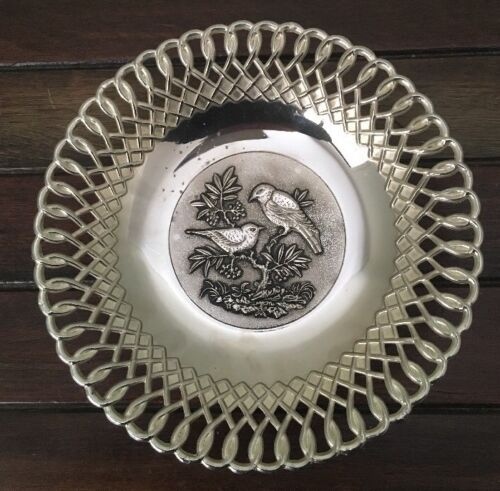 Vintage SILVER PLATED Pewter Laced Edge Bowl Bird Design In The Middle Polished