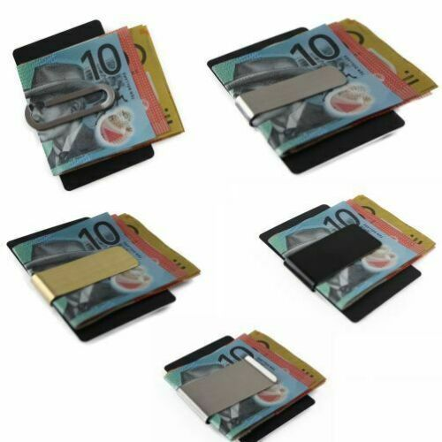 MONEY CLIP Mens Wallet Credit Card Stainless Steel Holder Silver Black Gold