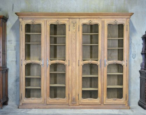 Antique French Country 4 Door Bookcase In Oak 10' wide