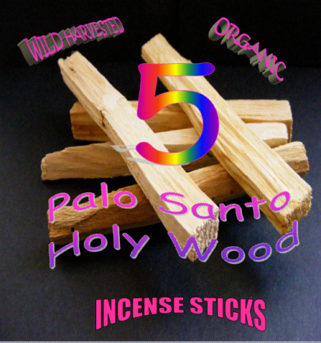 PALO SANTO HOLY WOOD ETHICAL🌕ORGANIC INCENSE/SMUDGE STICKS X 5  + *FREE POUCH