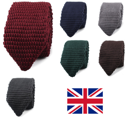 Men's Fashion Tie Knit Knitted tie Slim Skinny Woven Pointed UK