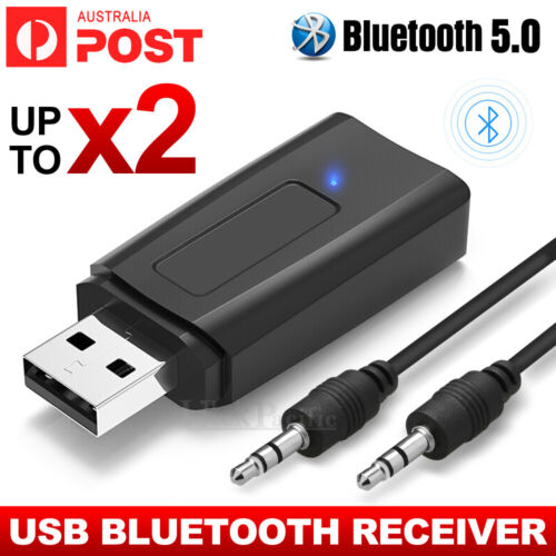 2x USB Bluetooth 5.0 Transmitter Receiver Stereo Audio Adapter AUX 3.5mm CAR