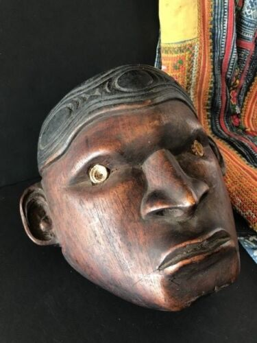 Old Carved Wooden Trophy Head with Shell Eyes …beautiful collection / display pi