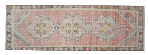 Vintage Hand Knotted Wool Turkish Oushak Runner Rug Distressed Rug 2'10'' x 8'8
