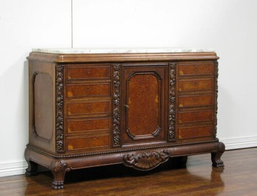Antique German Country Style Marble Top Sideboard