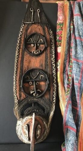 Old Papua New Guinea Yam Festival Woven Mask / Wall Hanging …beautiful collectio