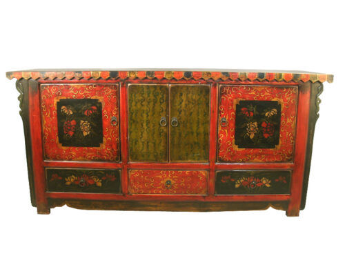 A Chinese Antique Mongolian Cabinet TV Table Gorgeous Flower Hand Painting