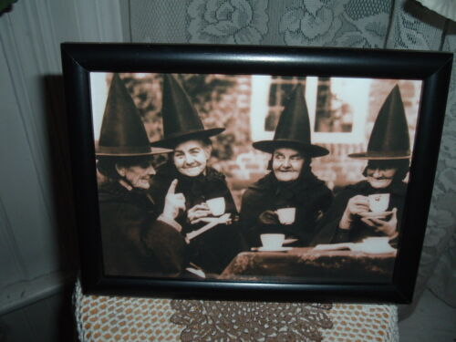 4 WITCHES AT TEA 5X7 FRAMED PICTURE HALLOWEEN SHELF SITTER GATHERING