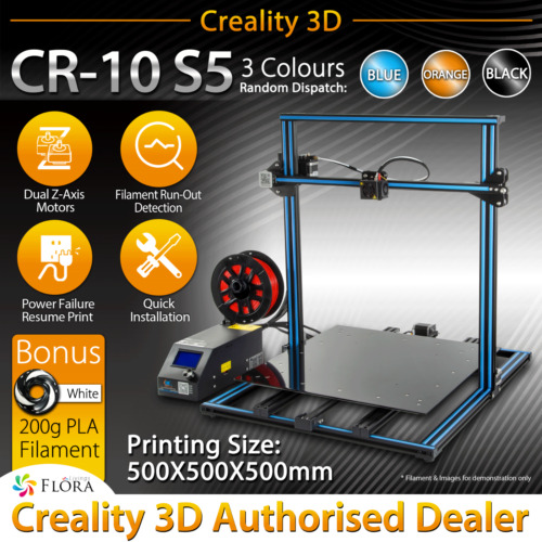 3D Printer Creality CR-10 S5 DIY PRINTING Filament PLA ABS PETG WOOD CARBON PLS