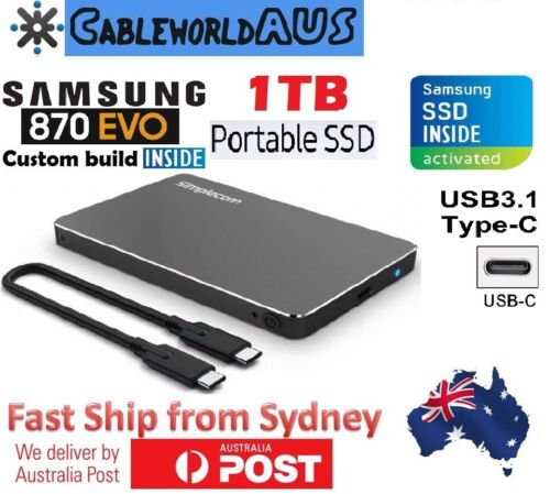 "Samsung Inside 500GB SSD Portable 2.5"" USB C 3.1 Type-C External Hard Disk Drive"
