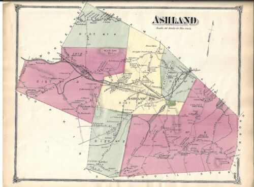 VINTAGE 1875 ASHLAND, MA., MAP. MIDDLESEX COUNTY,  GOOD CONDITION