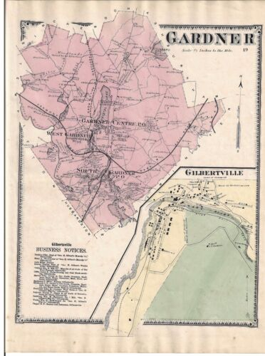 VINTAGE 1870 GARDNER, MA. MAP THAT WAS REMOVED FROM THE BEER'S 1870 ATLAS