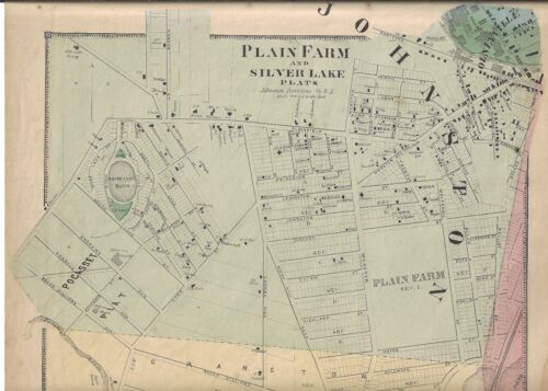 1870 JOHNSTON, PLAIN FARM, SILVER LAKE, RI. MAP FROM THE BEERS ATLAS 0F 1870