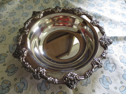 """Antique Ornate Rose ELOQUENCE LUNT Hollow Plate Candy Dish 6"""" Bowl Marked E-27"""