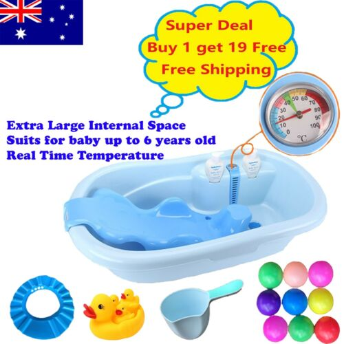 Extra Large Baby shower Infant Toddler kids Bath tub w/Support Seat Thermometer