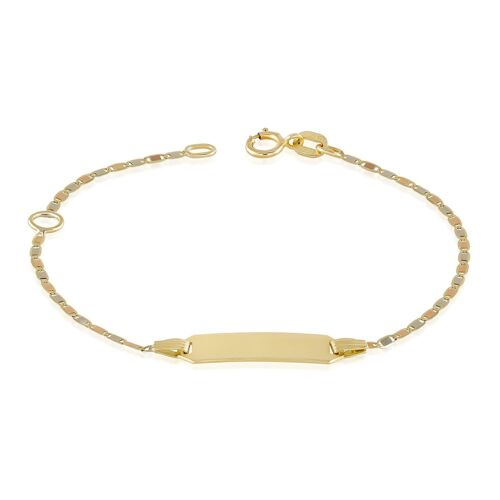 "Gold Baby Bracelets 14k Tri Color Bar Chain 4.5"" + 1"" extension Free Engraving"