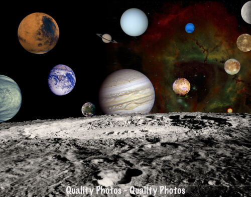 """Solar System Montage 8.5x11"""" Photo Print Planets Seen by Voyager Spacecraft NASA"""