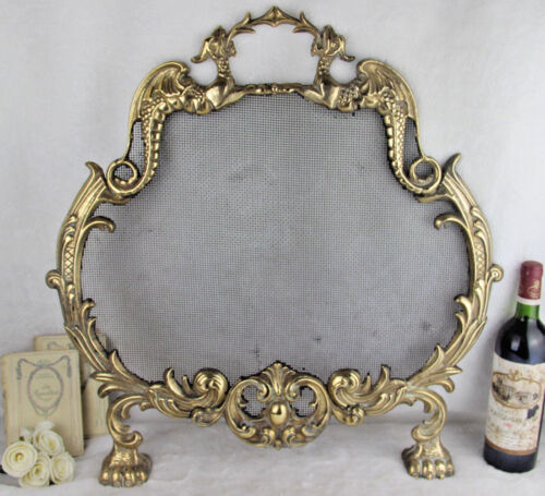 Gorgeous Gothic Dragon griffin castle French 1960 Fireplace screen brass