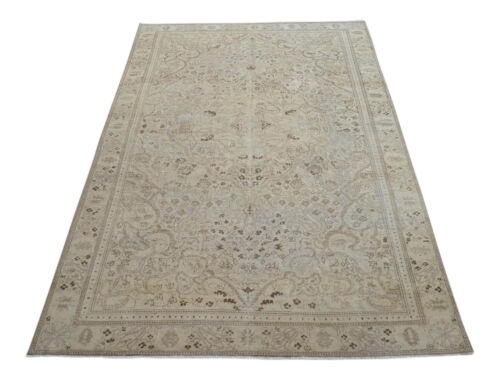 6x9 Rug Vintage Distressed Area Rug Hand Knotted Faded Oushak Rug 6' x 9'4''