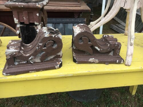 "Pair c1880 Victorian gingerbread corbels brackets old brown 12"" x 8"" x 7.5"""