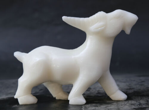 "6.3"" Chinese White Jade Hand Carving 12 Zodiac Animal Lovable Sheep Goat Statue"