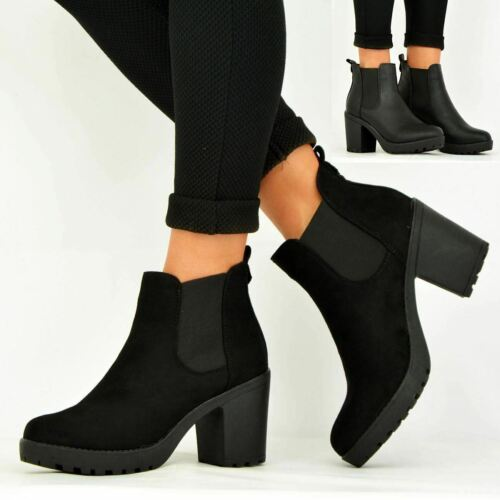 LADIES WOMENS ANKLE CHELSEA BOOTS CHUNKY BLOCK HEELS PLATFORM SHOES SIZE UK 3-8