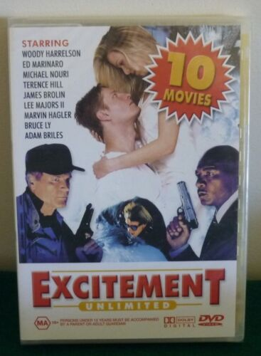 DVD - 10 PACK EXCITEMENT UNLIMITED - BRAND NEW in PLASTIC - MA 15+ - 10 MOVIES