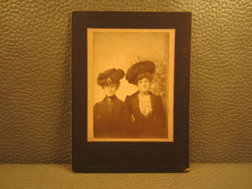 Victorian Antique Cabinet Card Photo of Two Young Women, Sisters, Siblings