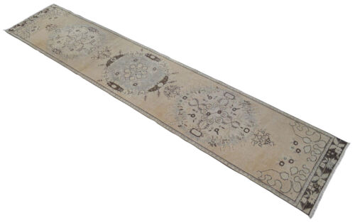 Vintage Distressed Hallway Rug Hand Knotted Faded Oushak Runner 2'4'' x 11'8''
