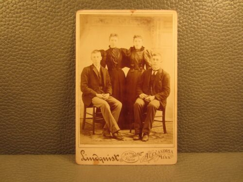 Victorian Antique Cabinet Card Family Photo of Brothers and Sisters, Siblings
