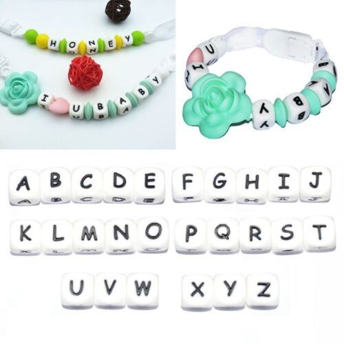 5Pc Diy Letter Safe Silicone Teething Beads For Baby Teether Pacifier Chain 12mm