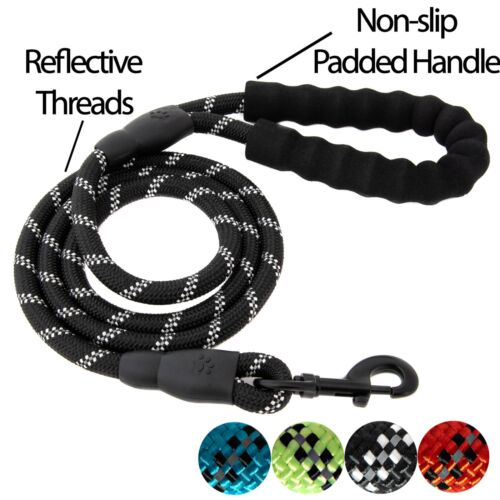 5 FT Service Dog Rope Leash Lead Training Padded Handle Reflective Nylon Puppy L <br/> 4PAWSPETS✔US SELLER✔100% FEEDBCK✔BEWARE OF COUNTERFEITS