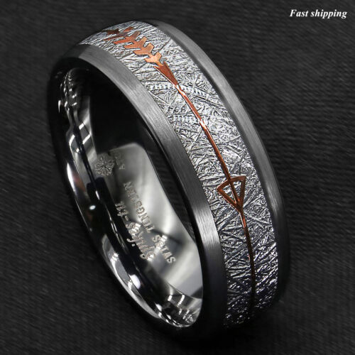 8/6mm Rock Gray Brushed Dome Tungsten Ring Silver Rose Gold Arrow ATOP Jewelry