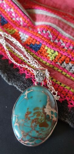Old Landscape Turquoise Necklace on Silver Chain …beautiful accent piece