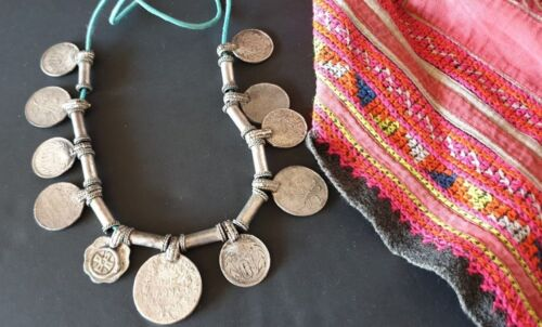 Old Tibetan Local Silver and Coin Tribal Necklace …beautiful collection / accent