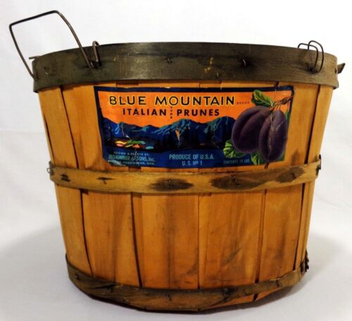 EARLY-MID 20TH C VINT ITALIAN PRUNE STAVED WOOD BASKET W/PAPER LABEL WIRE HANDLE