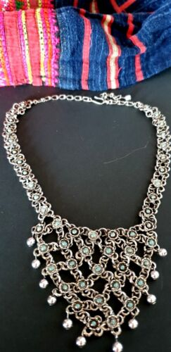 Old Tibetan Local Silver Necklace with Stones  …beautiful accent piece