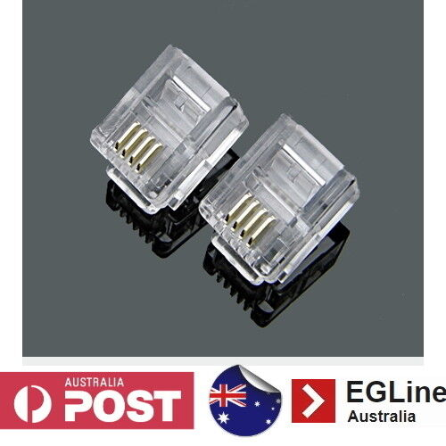 RJ11 Gold-plated 6P4C Modular Plug Telephone ADSL Connectors 50 - 100Pcs