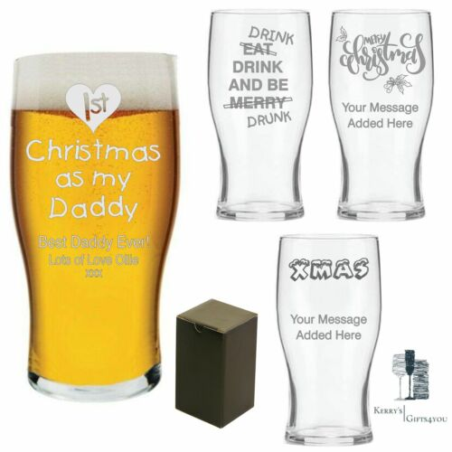 First 1st Baby Dad Daddy Gift Xmas Engraved Pint Beer CHRISTMAS Gifts