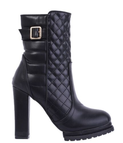 SIZE 3 4 6 7 8 BLACK FAUX LEATHER HIGH HEEL MILITARY ANKLE BOOTS BNWB