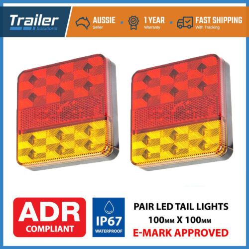 2 X 12 LED TRAILER LIGHTS LIGHT SQUARE TAIL STOP INDICATOR TRUCK LAMP KIT 12V