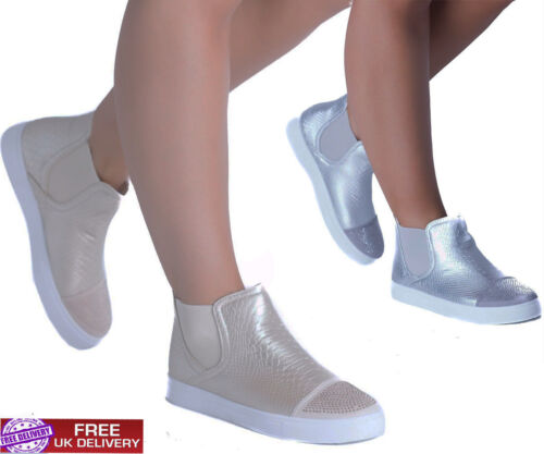 Womens Trainers Sneakers Plimsoll Pumps Shoes Flats Skaters Slip On Hi Top Boots